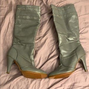 Shoes - Grey Faux Leather Boots